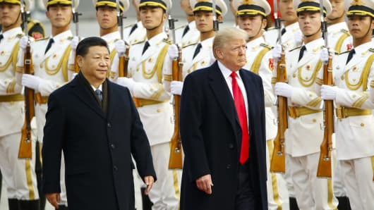 President Donald Trump takes part in a welcoming ceremony with China's President Xi Jinping on November 9, 2017 in Beijing, China.