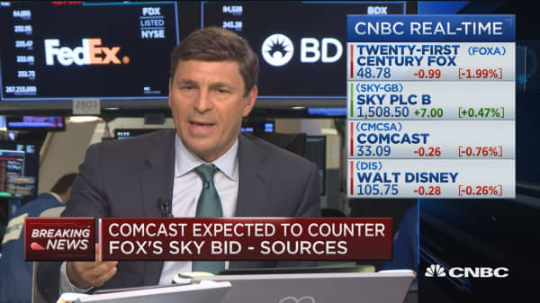 David Faber reports that the likelihood of a potential competing offer from Comcast for Fox