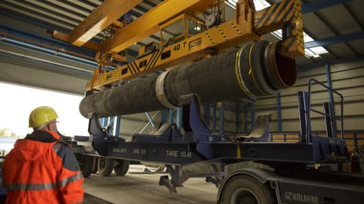 Finished pipes are loaded on a truck  for use in the Nord Stream 2, October 19, 2017 in Sassnitz, Germany.