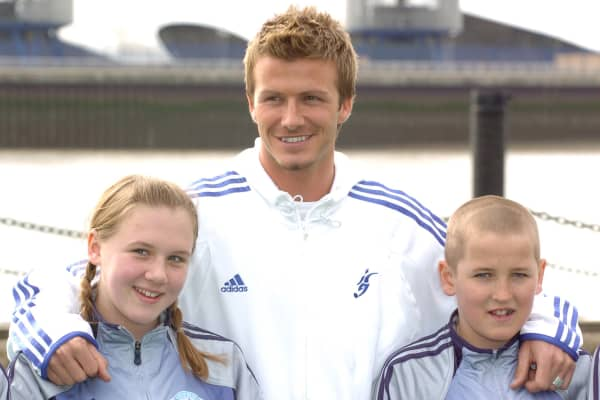 David Beckham with Harry Kane at 'The David Beckham Football Academy' at Bouy Wharf in 2005