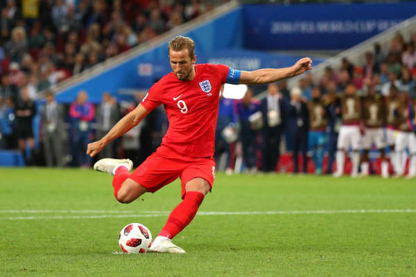 Harry Kane of England scores a penalty in a shootout at the end of extra time during the 2018 FIFA World Cup Russia Round of 16 match between Colombia and England at Spartak Stadium on July 3, 2018 in Moscow, Russia.