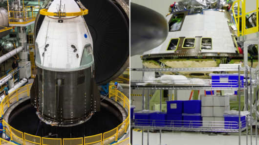 The SpaceX Crew Dragon, left, and the Boeing Starliner capsule under construction.
