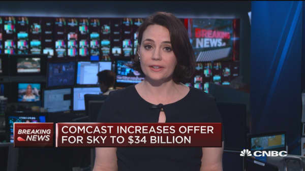 Comcast increases bid for Sky to $34 billion