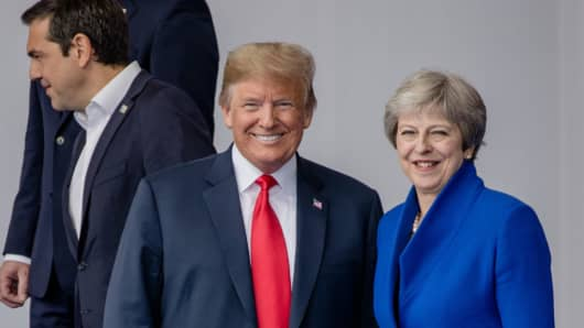 U.S. President Donald Trump, left, and Theresa May, U.K. prime minister.