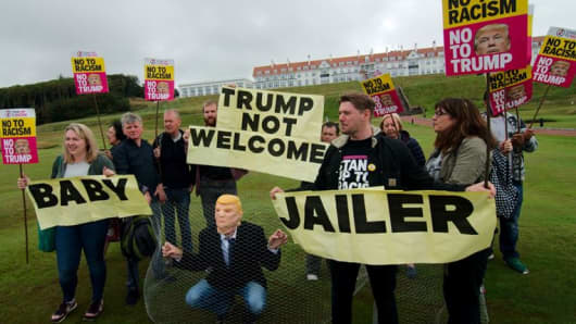 A demonstration held Wednesday 11 July outside the Trump Turnberry golf course.