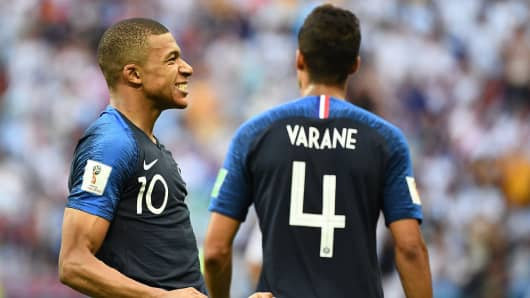 France's forward Kylian Mbappe celebrates after scoring their fourth goal during the Russia 2018 World Cup round of 16 football match between France and Argentina at the Kazan Arena in Kazan on June 30, 2018.