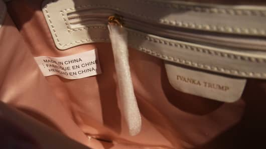 "A ""Made in China"" label inside a handbag by Ivanka Trump"