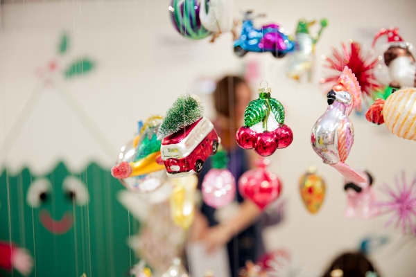 Holiday decorations from Danish retailer Flying Tiger shown at the Christmas in July Festival in London, July 11 2018