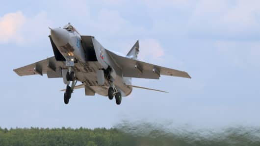Kubinka, Moscow Region, Russia - June 22, 2015: Mikoyan Gurevich MiG-31BM RF-92379 jet fighter takes off at Kubinka air force base.