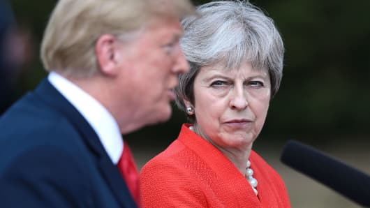 Prime Minister Theresa May and U.S. President Donald Trump attend a joint press conference following their meeting at Chequers on July 13, 2018 in Aylesbury, England.