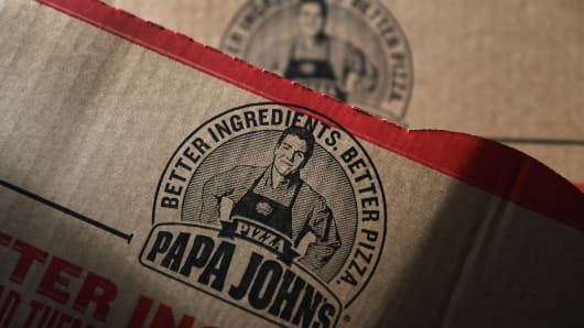 A Papa John's pizza box is seen on July 11, 2018 in Miami, Florida.