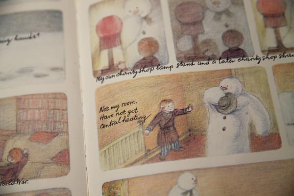 "Annotated pages from ""The Snowman"" by Raymond Briggs, as displayed at auction house Sotheby's in December 2014"