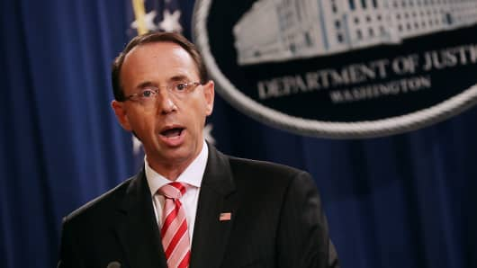 Deputy Attorney General Rod Rosenstein holds a news conference at the Department of Justice July 13, 2018 in Washington, DC.