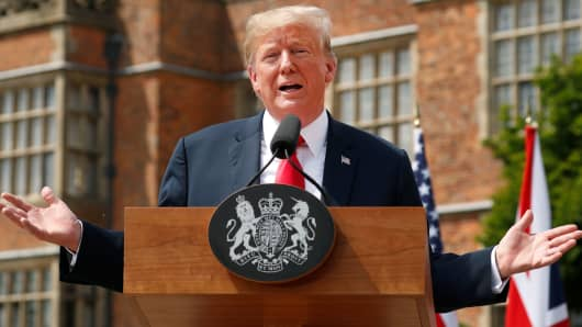 President Donald Trump speaks as he and British Prime Minister Theresa May hold a press conference after their meeting at Chequers in Buckinghamshire, Britain July 13, 2018.