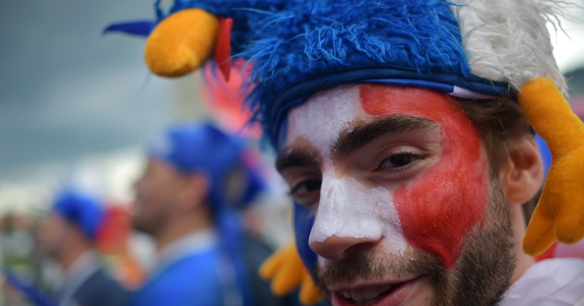 A France supporter cheers ahead of the Russia 2018 World Cup quarter-final football match between Uruguay and France.