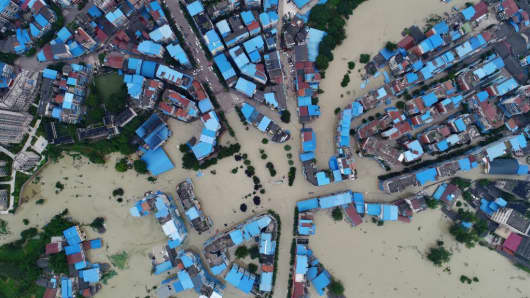 An aerial view of flooded Taihe township on July 12, 2018 in Chongqing, China. The flood in Chongqing has submerged more than 1600 homes and triggered the evacuation of 6600 people on Thursday.
