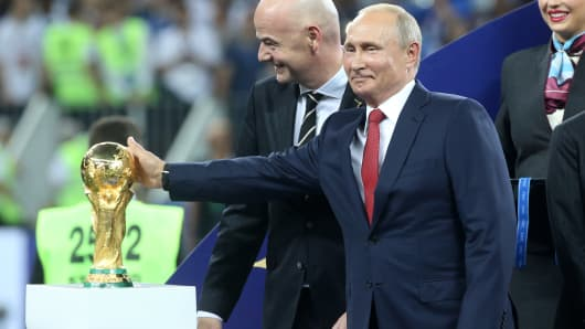 FIFA President Gianni Infantino and Russian President Vladimir Putin attend the 2018 FIFA World Cup final awarding ceremony at Luzhniki Stadium on July 15, 2018 in Moscow, Russia.