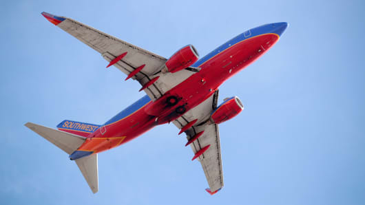 A Southwest Airlines jet leaves the Midway airport in Chicago, Illinois.
