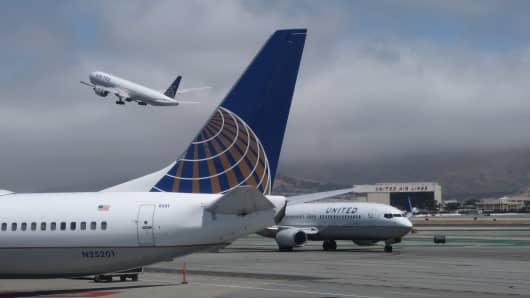 A United Airlines airplane takes off at San Francisco International Airport on June 15, 2018.