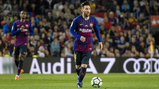 Lionel Messi of FC Barcelona on May 20, 2018, in Barcelona, Spain.