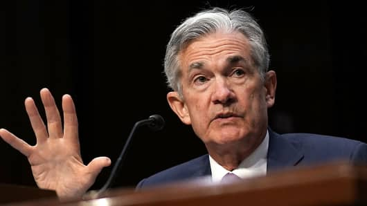Federal Reserve Board Chairman Jerome Powell testifies during a hearing before the Senate Banking, Housing and Urban Affairs Committee July 17, 2018 on Capitol Hill in Washington, DC.