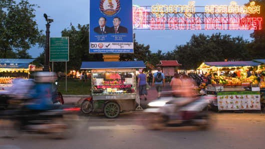 July 8, 2018: An election poster with images of Heng Samrin, Honorary President of the Cambodian People's Party, and Prime Minister Hun Sen, in Siem Reap.