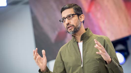 Sundar Pichai, chief executive officer of Google Inc., speaks during the Google I/O Developers Conference in Mountain View, California, U.S., on Tuesday, May 8, 2018.