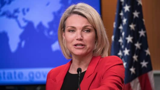 U.S. Department of State Spokesperson Heather Nauert speaks during a press conference in Washington, DC.
