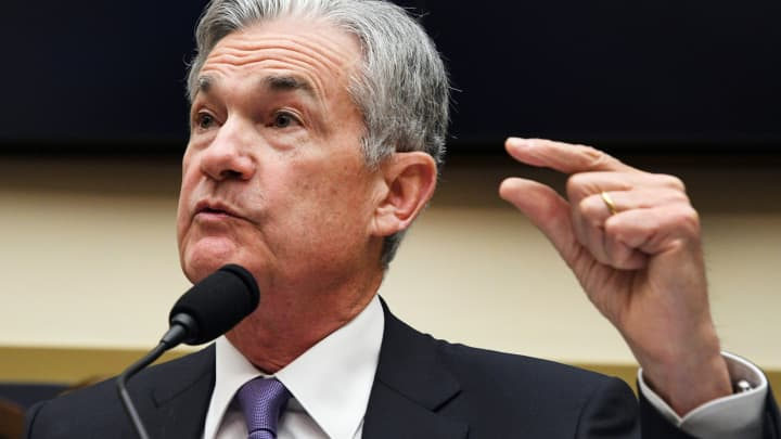 "Federal Reserve Chairman Jerome Powell testifies before a House Financial Services Committee hearing on the ""Semiannual Monetary Policy Report to Congress,"" at the Rayburn House Office Building in Washington, U.S., July 18, 2018."