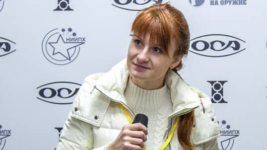 Mariia Butina, leader of a pro-gun organization, speaks on October 8, 2013 during a press conference in Moscow. The 29-year-old Russian woman has been arrested for conspiring to influence US politics by cultivating ties with political groups including the National Rifle Association, the powerful gun rights lobby. Mariia Butina, whose name is sometimes spelled Maria, was arrested in Washington on July 15, 2018 and appeared in court on July 16, the Justice Department said.