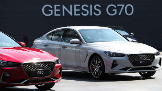Genesis G70 Sedans On Display During A Launch Event In Hwaseong