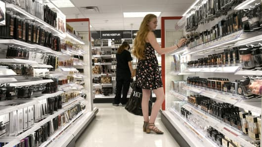 A shopper checks out the merchandise at a Target store in Denver, Colorado.