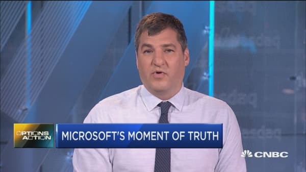 Options traders are betting on big moves for Microsoft off earnings