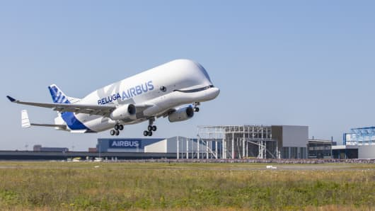 The first flight for the BelugaXL from Blagnac in Toulouse, France on 19th July, 2018.