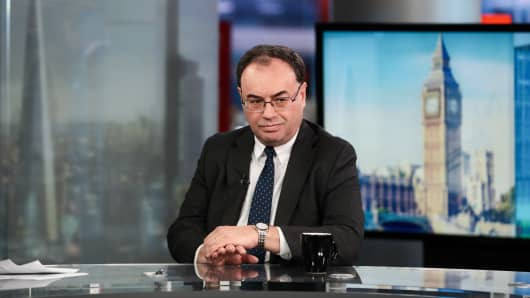Andrew Bailey, chief executive officer of the Financial Conduct Authority, pauses during a Bloomberg Television interview in London, U.K., on Thursday, July 27, 2017.