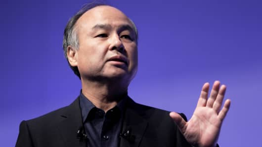 Masayoshi Son, chairman and chief executive officer of SoftBank Group Corp., speaks at the SoftBank World 2018 event in Tokyo, Japan, on Thursday, July 19, 2018.