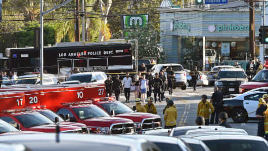A suspect wanted in connection with a shooting was barricaded inside a Trader Joe's supermarket in the US city of Los Angeles on Saturday, police said, in what US media reported was a possible hostage situation, on July 21, 2018.