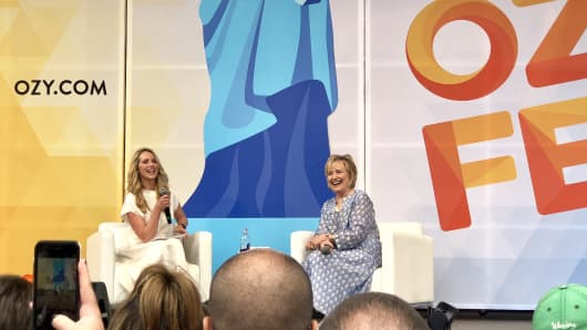 Hillary Clinton, pictured with Laurene Powell-Jobs, at the Ozy Festival in New York City on July 21, 2018.