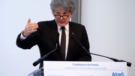 Chief Executive Officer of the IT services company Atos Thierry Breton delivers a speech during the presentation of the Atos designed supercomputer Bull Sequana on April 12, 2016  in Paris.