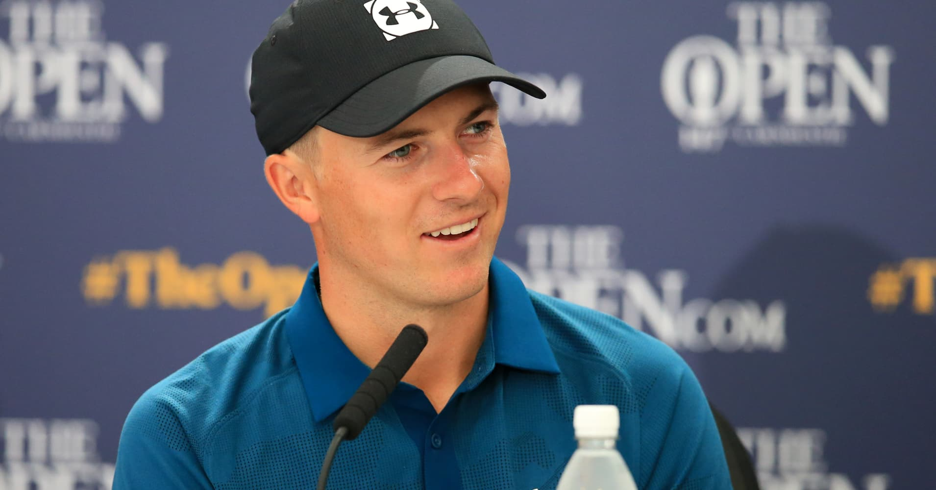 Jordan Spieth answers questions in his post round press conference at the 147th Open at Carnoustie