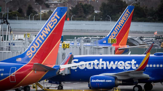 Southwest Airlines planes stand on the tarmac at San Francisco International Airport Jan. 19, 2018.