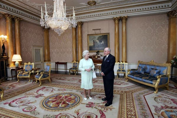 HM Queen Elizabeth II, The Queen, grants an audience to Australian Prime Minister John Howard at Buckingham Palace on July 22, 2005 in London, England.