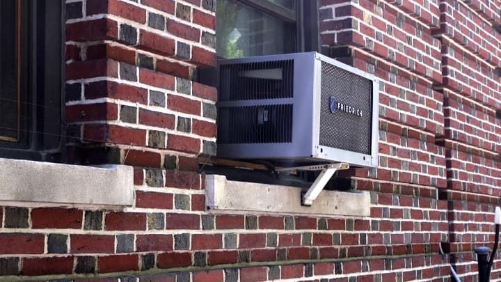A window air conditioner on Manhattan's Upper West Side.
