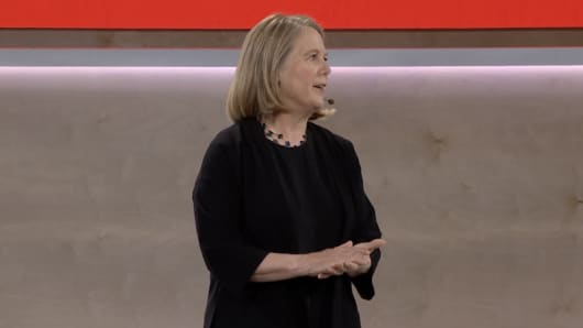 Google Cloud CEO Diane Greene delivers a keynote at the company's 2018 NEXT conference.