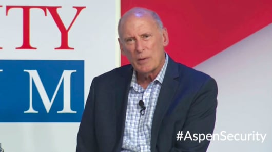 In this image from video provided by the Aspen Security Forum, National Intelligence Director Dan Coats speaks at the Forum in Aspen, Colo., on Thursday, July 19, 2018.