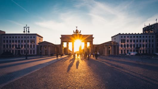 The Brandenburg Gate in Berlin, Germany.