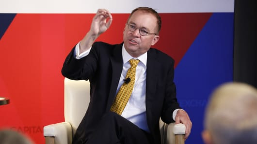 OMB Director Mick Mulvaney speaking at the Capital Exchange event Washington, D.C. on July 25th, 2018.