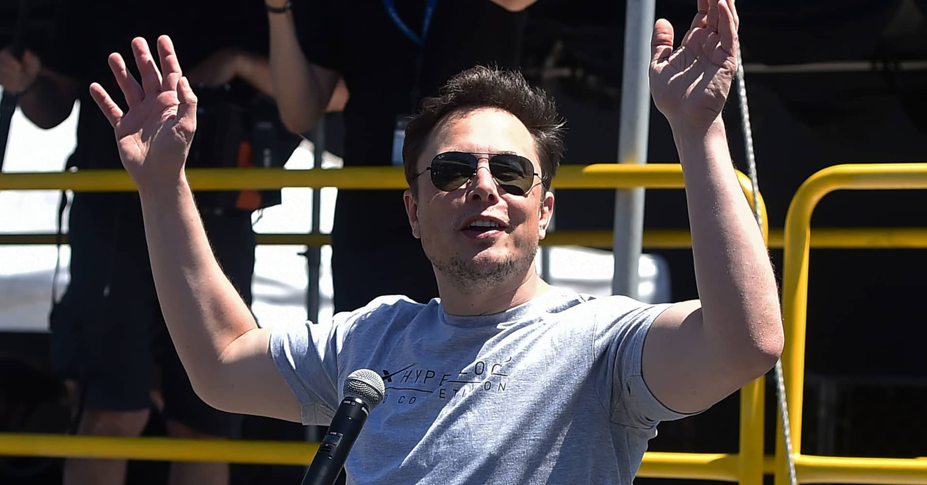 SpaceX, Tesla and The Boring Company founder Elon Musk speaks at the 2018 SpaceX Hyperloop Pod Competition, in Hawthorne, California on July 22, 2018.