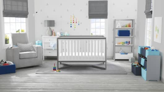 walmart makes a bigger bet on baby after babies r us faileda look at one of walmart\u0027s new curated nursery rooms this one is gender