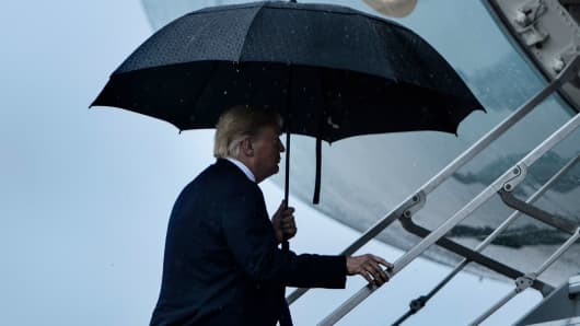 President Donald Trump boards Air Force One at Andrews Air Force Base July 24, 2018, in Maryland.